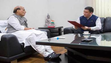 Photo of Khandu calls on Defence Minister Rajnath Singh