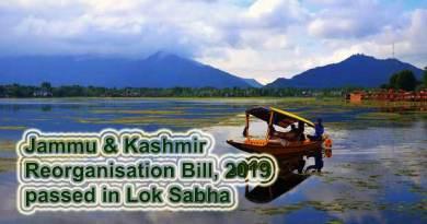 Jammu & Kashmir Reorganisation Bill, 2019 passed in Lok Sabha