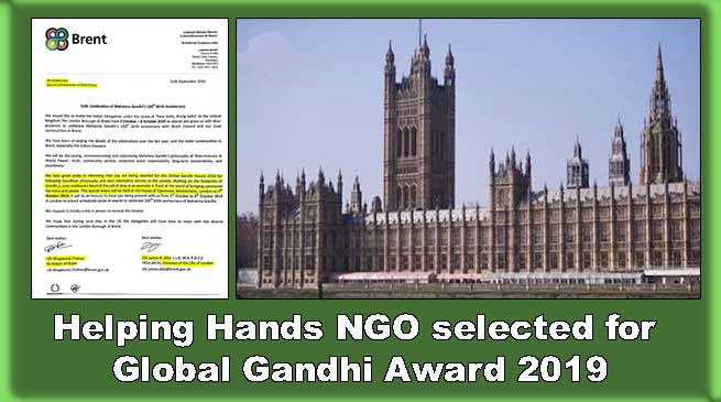 Helping Hands NGO selected for Global Gandhi Award 2019