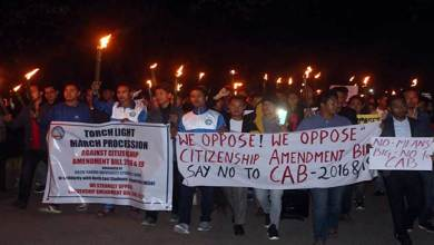 Arunachal: RGU Students take out Torch Light Procession against CAB