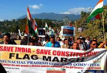 "Photo of APCC rally against CAA with slogan ""Save India Save Constitution"""