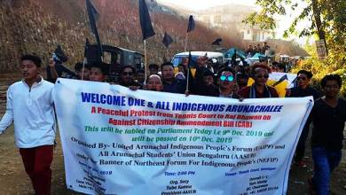 Protest, dharna against CAB continue in Arunachal Pradesh