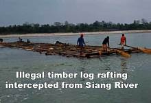 Photo of Arunachal: Illegal timber log rafting intercepted from Siang River