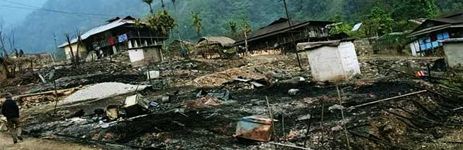 6 dwelling houses gutted in fire mishap at Rina village in Lower Siang