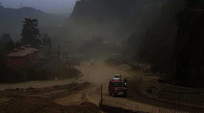 Itanagar: Dust Storm like scene along under construction NH-415