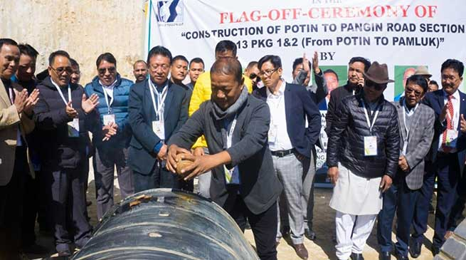 Arunachal: Felix flags off Construction of Potin to Pangin Road
