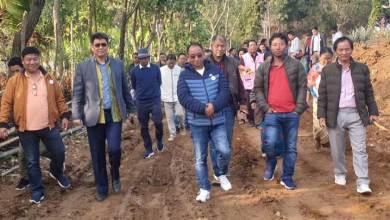 Photo of Techi Kaso laid foundation stone for 1st Phase Ganga-Teipu road
