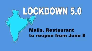 Photo of Choronavirus Lockdown 5.0 :  Malls, Restaurant to reopen from June 8