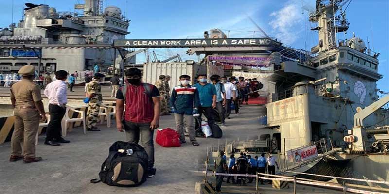 Operation Samudra Setu - INS Airavat brings back 198 Indiancitizens from Maldives