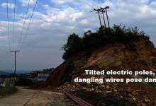 Photo of Itanagar- Tilted electric poles, dangling wires pose danger