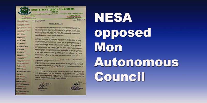 Arunachal: NESA opposes demand of Mon Autonomous Council