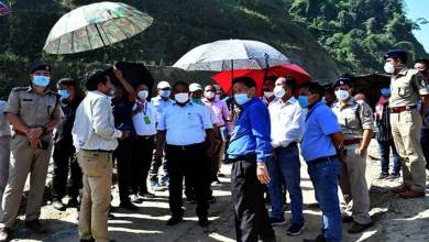 Itanagar: Bamang Felix visits the work site of NH-415