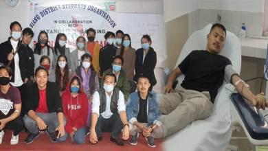 Arunachal: Siang District Students Organisation with AAYANG donates blood