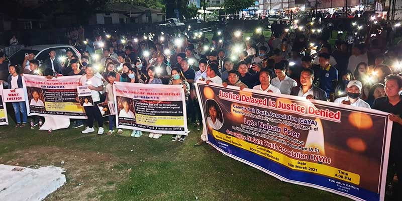 Arunachal: Candle light march in Doimukh demanding justice for late Nabam Peter