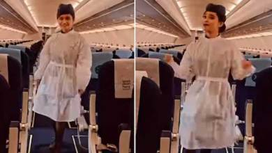 Indigo Air hostess dances to Manike Mage Hithe song on empty flight- Viral video has 13 million views