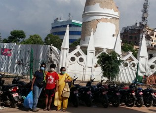 Inspecting Dharahara, the landmark that stood proud and tall.