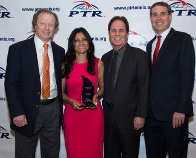 Photo from left: PTR Board President Roy Barth,Aruna Bernier, PTR Foundation Chair Scott Tharp and PTR CEO Dan Santorum