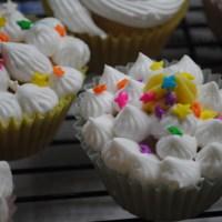 Mango cupcakes with mango buttercream frosting