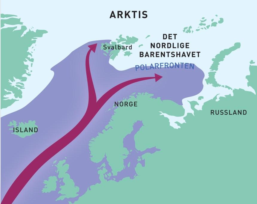 Kart som viser hvordan det varme atlantiske vannet strømmer nordover.