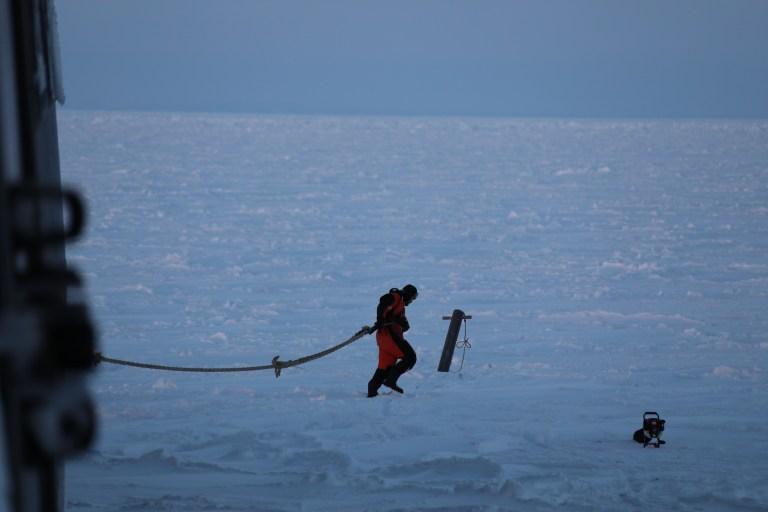 Men, etter ti dagar var det altså offisielt: Vi er koronafrie og kan gå inn i isen. Toktleiar Frank Nilsen sette kursen mot «det perfekte flaket» litt aust for Nordaustlandet, like nord for Austfonna. Vi fann oss eit prektig flak på omlag ein kvadratkilometer med jamn og fin is, ein god halvmeter tjukk. Her ankra vi båten fast i isen.