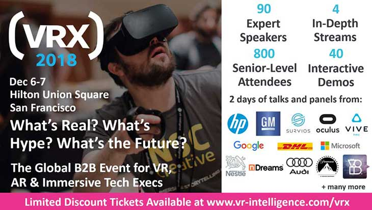 AR/VR Magazine Partners with VRX 2018 for 4th Annual Senior-level XR Summit