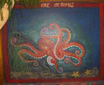 Potomac Crescent Waldorf School 4th grade chalkboard drawing octopus red orange white dark blue