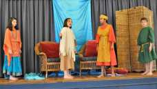 Potomac Crescent Waldorf School 5th grade students on stage during play