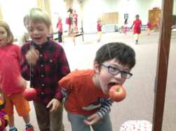 Potomac Crescent Waldorf School 2nd 3rd grade students Michaelmas apple bobbing festival