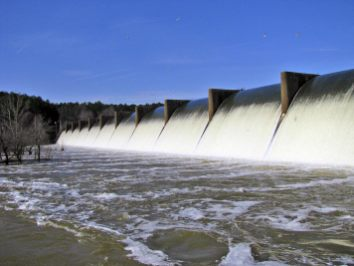 The Brasfield Dam impounds the Appomattox River to form the Chesdin Reservoir. The reservoir stores approximately 9.3 billion gallons of water. The dam is 55 feet at the highest point, 1250 feet long and has an 800 foot long spillway.