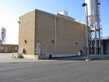 Water enters the rapid mix building and pre-feed chemicals are mixed. Lime (pH adjustment & alkalinity addition) and alum (coagulant) can be added here. The water passes through a combination of mixing chamber and is mixed by one or both of the turbine mixers.
