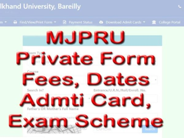 mjpru private form 2020-21 admit card, exam scheme