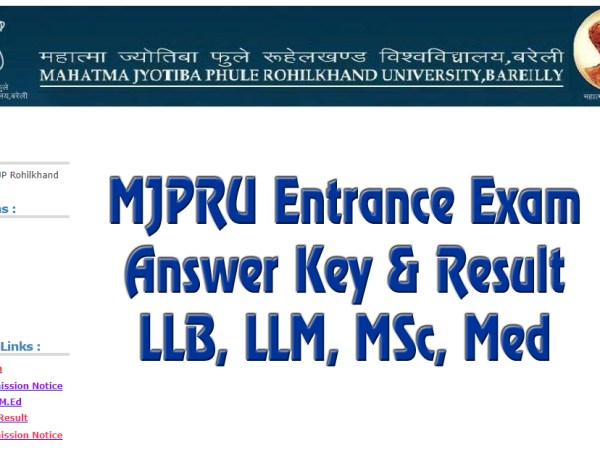 MJPRU Entrance Exam Answer Key 2021 LLB, MSc, LLM, Med, B.el.ed