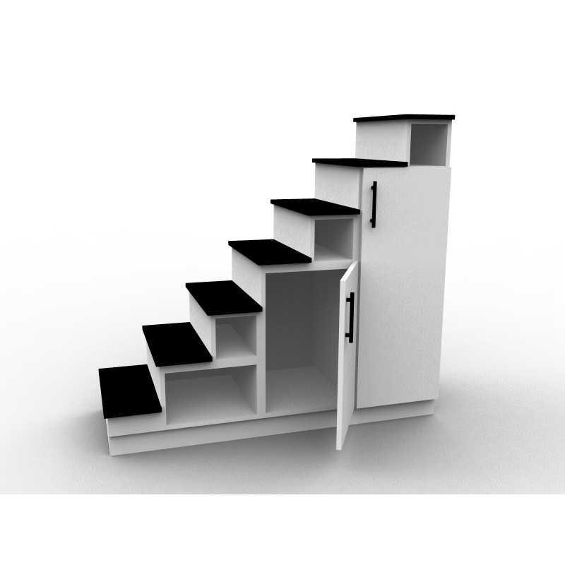 meuble escalier mezzanine blanc et noir modele eteya