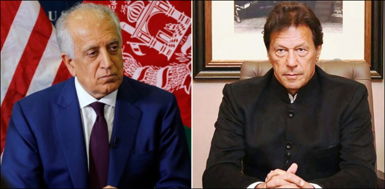 Photo of PM Imran, Zalmay Khalilzad talk about Afghan peace course of