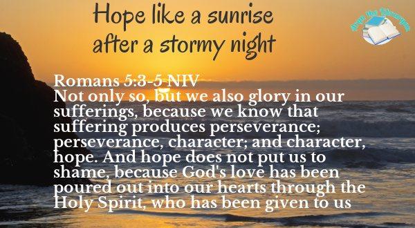Sunset over the ocean, Romans 5:3-5