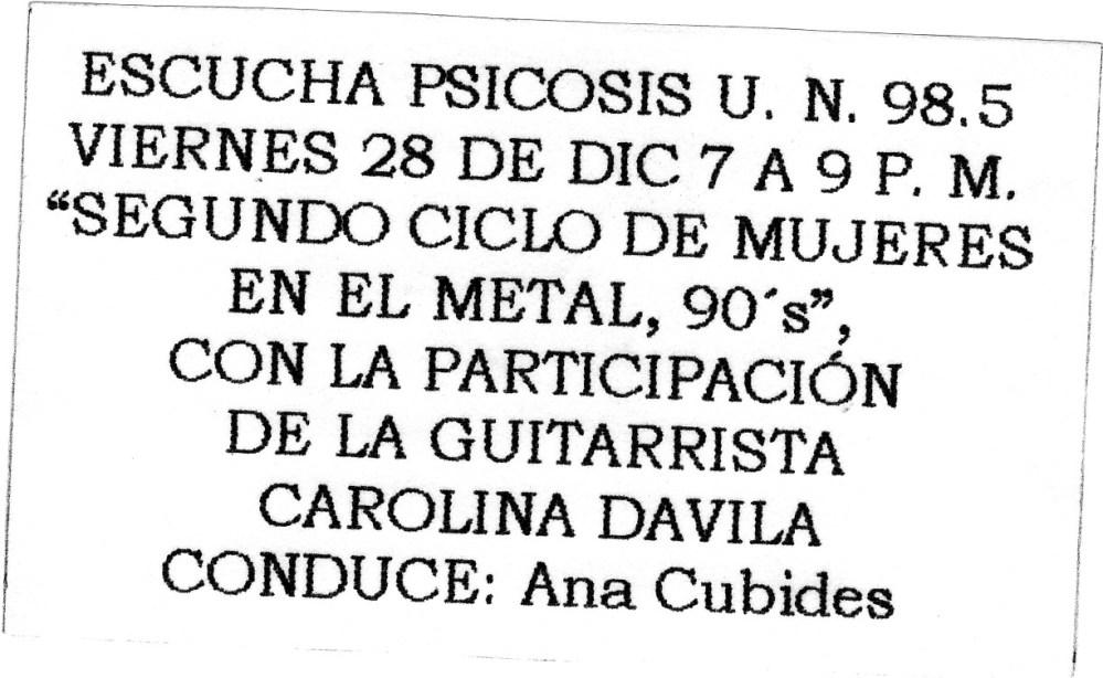 Mujeres en Música Extrema: la apuesta (2/3)