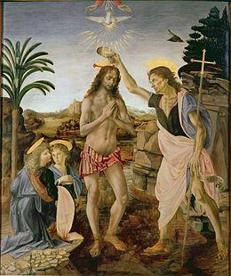 Andrea_del_Verrocchio,_Leonardo_da_Vinci_-_Baptism_of_Christ_-_Uffizi