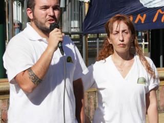 Enzo Sfardini y Estela Dines, cierran el acto en la estación San Isidro del TdC