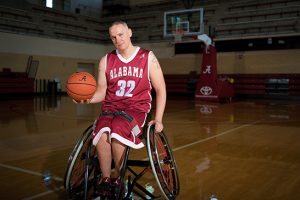 160514, wheelchair basketball / adapted athletics player Shaun Castle in Foster Auditorium, shot 05-04-16