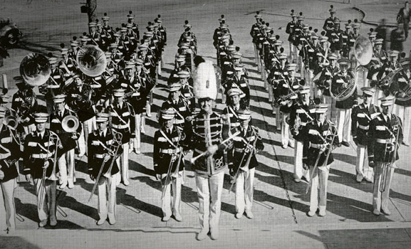 The 1939 Million Dollar Band standing in formation.