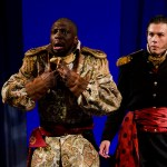 Iago watches as Othello reacts to news of his wife's (fictitious) infidelity