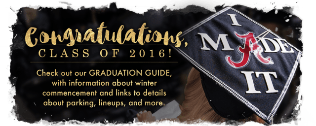 Congratulations, Class of 2016! Check out UA's graduation guide, with links to details about parking, lodging, lineups, and more.