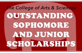 outline of an elephant, with overlaid text that reads College of Arts and Sciences Outstanding Sophomore and Junior Scholarships