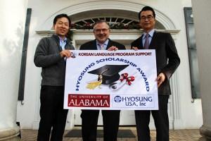 Hyosung USA donates $10,000 to UA's Korean program.
