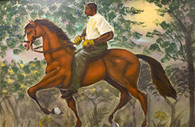 Painting of a man riding a horse