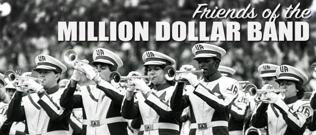 Black and white banner with the words Friends of the Million Dollar Band