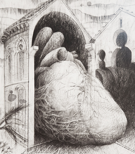 black and white sketch of a large realistic heart