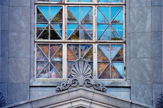 detail of windows on the front of Farrah Hall