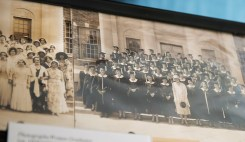 Photograph of 1932 women graduates taken in front of Doster Hall.
