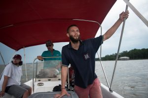 University of Alabama Ph.D. student Daniel Agustin Montiel Martin, from Spain, working in the Mobile Bay of Alabama to research Submarine Groundwater Discharge.